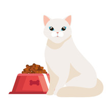 Cute Cat With Dish Food Isolated Icon Vector Illustration Design