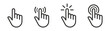 Pointer cursor сomputer mouse icon. Clicking cursor, pointing hand clicks icons. Click cursor - stock vector