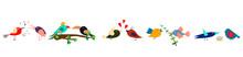 Set Of Cute Cartoon Birds In R...