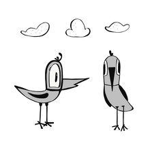 Two Funny Birds And Clouds Hand Drawn In Doodle Style. Isolated On A White Background. Can Be Used For Children S Clothing Design, T-shirts, Mug Design, Posters, Postcards,children Books
