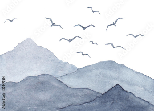 akwarela-krajobraz-z-ptakami