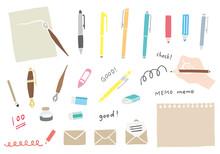 文房具(筆記具)の手描き風イラストのセット