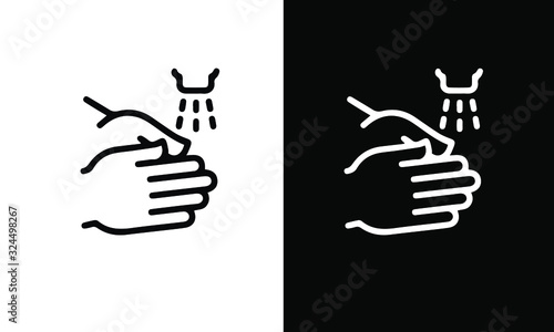 Water icon set vector design black and white Canvas Print