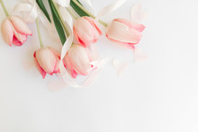 Pink Tulips With Ribbon And He...