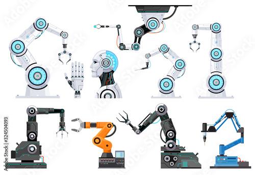 Leinwand Poster Robotic engineering vector illustrations.