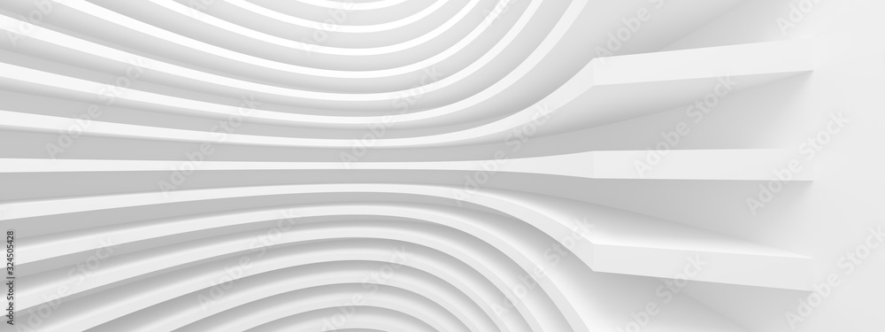 Fototapeta Abstract Architecture Background. White Circular Building. Geometric Graphic Design
