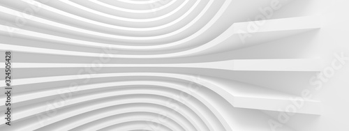 Fototapeta Abstract Architecture Background. White Circular Building. Geometric Graphic Design obraz