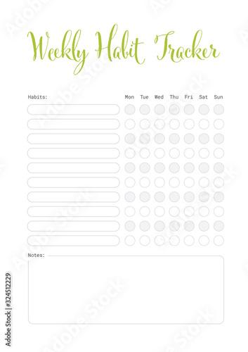Fotografía Weekly habit tracker template