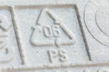 Styrofoam Recycling Symbol PS 06, Recycle Arrow Triangle, Six Type Logo, Resin Identification Code, Polystyrene. Ecology Emblem, Environment Protection