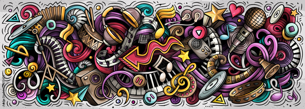 Music hand drawn cartoon doodles illustration. Colorful vector banner