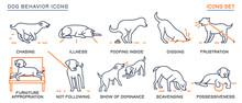 Dog Behavior Icons Set