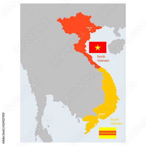 Fotografie, Obraz vector map of South and North Vietnam
