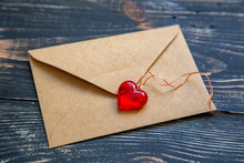 Envelope With Red Heart For Va...