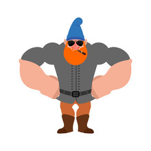 Garden Gnome Strong Cool Serious. Dwarf Strict. Vector Illustration