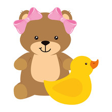 Cute Duck Rubber With Teddy Be...