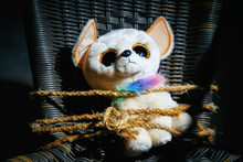 Soft Toy Of A Sad Dog Tied Wit...