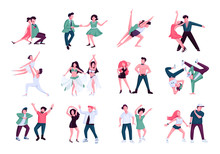 Partner Dance Flat Color Vector Faceless Characters Set. Tango, Rumba, Contemp Male And Female Performers. People Dancing In Nightclub Isolated Cartoon Illustrations On White Background