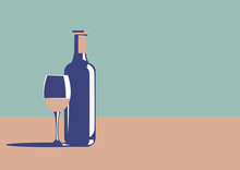 Elegant Wine Bottle And Wine G...