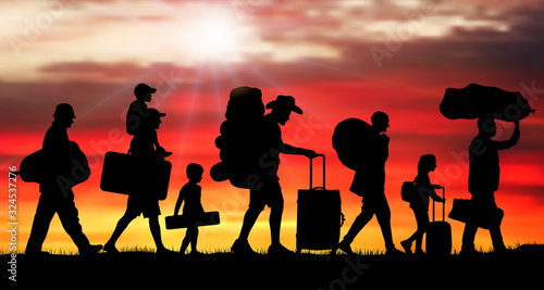 Fotografie, Obraz Crowd people migration at sunrise