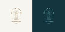 Lighthouse Line Symbol Vector Logo Emblem Design Template Illustration Simple Minimal Linear Style