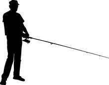 Silhouette Of A Fisherman Who ...