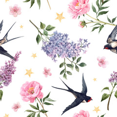 Fototapeta Inspiracje na wiosnę Beautiful gentle spring seamless floral pattern with watercolor anemone, lilac, peony flowers and swallow birds. Stock illustration.