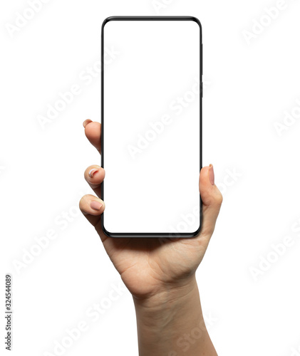 Smartphone in woman hand, blank screen and modern frameless design - isolated on Wallpaper Mural