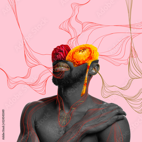 Fototapeta African-american man with head filled by flowers on coral background. Copyspace for your proposal. Modern design. Contemporary artwork, collage. Concept of phycology, thinking, brainstorming, fashion. obraz