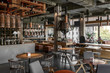 canvas print picture - Interior of modern cafe in loft style