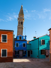 The Leaning Bell Tower Of Burano On A Sunny Day In Winter