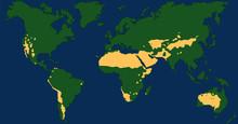 Desert Climate World Map With Greatest Deserts Like Sahara, Gobi, Kalahari, Arabian, Patagonian And Great Basin Desert. Chart With Yellow Drought Areas. Vector Illustration.