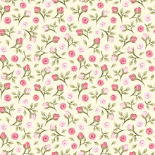 Vector Seamless Pattern With Small Pink Roses On A Yellow Background.