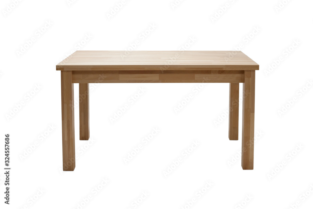 Fototapeta Wooden modern table isolated on white background. Kitchen dining table, front view.