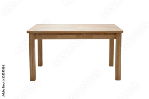 Fototapeta Wooden modern table isolated on white background. Kitchen dining table, front view. obraz