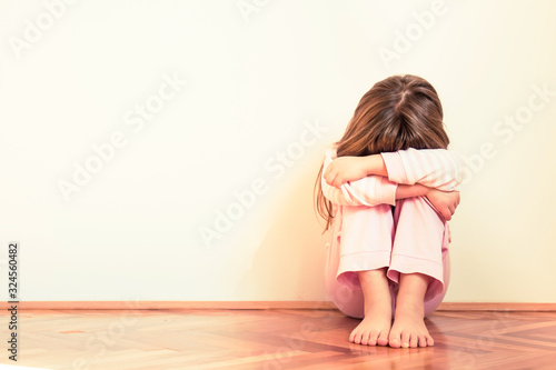 Sad and disappointed little girl. Emotion problems. Copy space Canvas-taulu