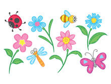 Cute Cartoon Insects And Flowers