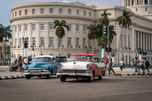 Classic Cars At Cuban National Capitol Building