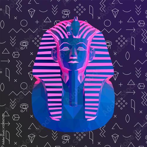 Psychedelic Vaporwave Tutankhamun Burial Mask on Retro Background Canvas Print