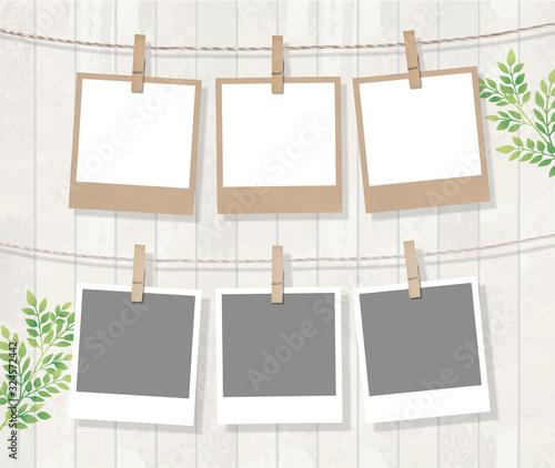 Obraz インスタント写真フレームとさわやかな葉 - fototapety do salonu