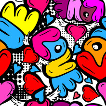 A Seamless Background Of Love. Graffiti. Print With Hearts. Happy Valentine's Day. Vector Illustration