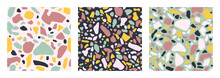 Collection Of Terrazzo Floor Covering Seamless Pattern In Mint, Pink, Blue And Yellow Colors. Vector Background