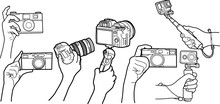 Vector Of Hands Holding Camera, Hand Drawn In Black Color And White Color