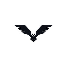 Hawk Black Icon On White Background. Flying Bird Icon. Abstract Logo Template For Your Ideas.