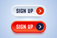 Sign Up Buttons In 3d Style Wi...