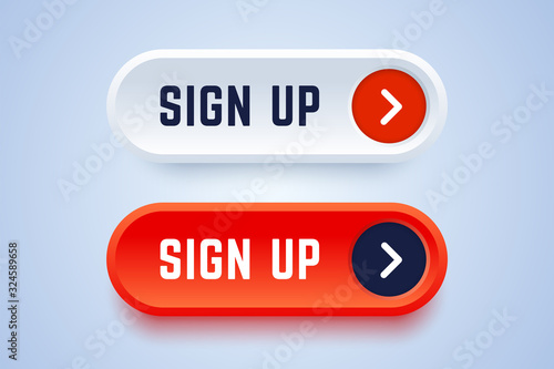 Fotomural Sign up buttons in 3d style with arrow sign