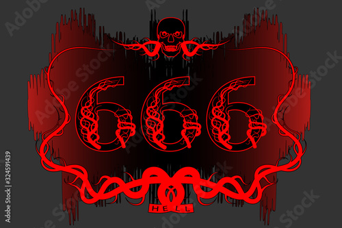 Poster black and red abstract pattern stylistic branches with a skull and number фототапет