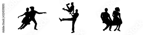 Set dancing couples silhouettes on white background Canvas Print