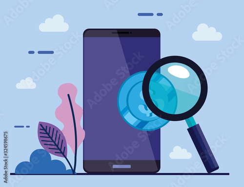 smartphone device with coin and magnifying glass vector illustration design Canvas Print