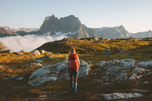 Woman Traveler Hiking In Mount...