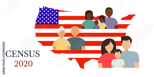 Valokuva Silhouettes of men, women and children of different ages against the background of the American flag in the shape of a map of the United States of America
